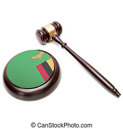 Judge gavel and soundboard with national flag on it - Zambia