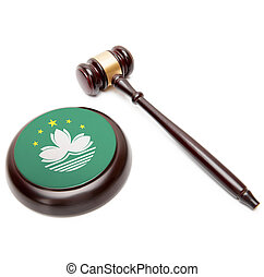 Judge gavel and soundboard with national flag on it - Macau