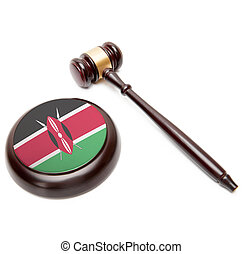Judge gavel and soundboard with national flag on it - Kenya