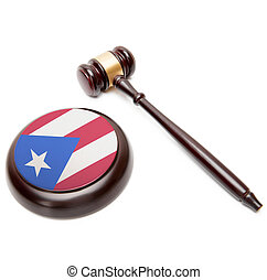 Judge gavel and soundboard with national flag on it - Puerto...