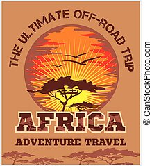 Travel Africa - extreme off-road vector emblem - Travel...