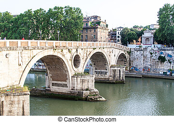 Bridge over Tiber river in Rome