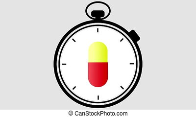Stopwatch Medical Pill Turning - Stopwatch with a medical...