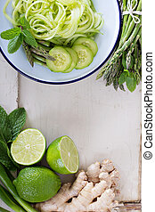 Green vegetables for asian cooking - Green vegetables, lime...