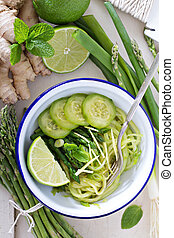 Cucumber noodles with asparagus and ginger - Cucumber...
