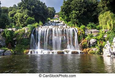 Palazzo Reale grounds in Caserta - Artificial waterfall and...