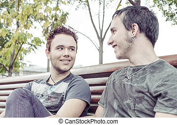 Gay couple - Loving gay couple in outsite