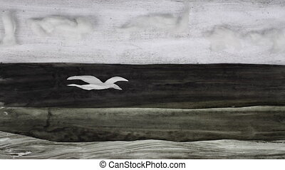 stop motion cut out - birds flying over the sea , black and...