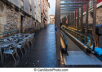 Escalators in the old town in Vitoria, Basque Country, Spain...