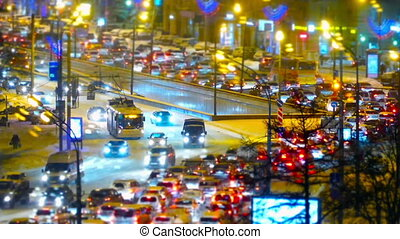 Traffic jam in Moscow, Russia - Traffic jams at rush hour in...