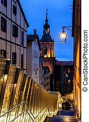 Escalators and San Pedro church in Vitoria - Escalators and...