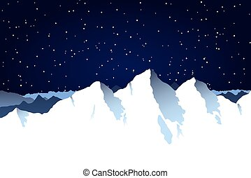 Snowy mountain range background with night sky