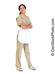 Housemaid woman isolated white background. - Young friendly...