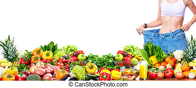 Woman losing weight. - Slim healthy Woman losing weight....