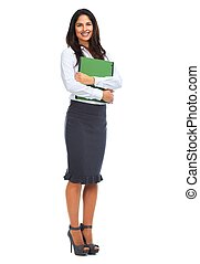 Young business woman with folder - Young smiling business...