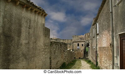 Ancient streets Erice, Sicily - Ancient streets in old...