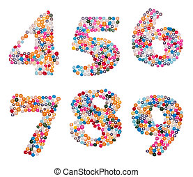 Numbers made of colorful sprinkles - Number set made of...