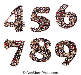 Numbers made of mixed peppercorns - Number set made of mixed...
