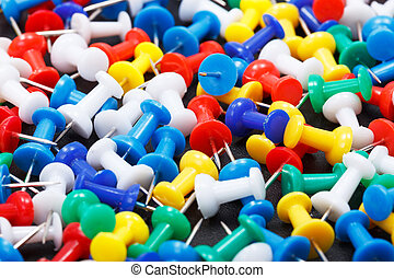Colorful push pins - Closeup view of colorful plastic push...