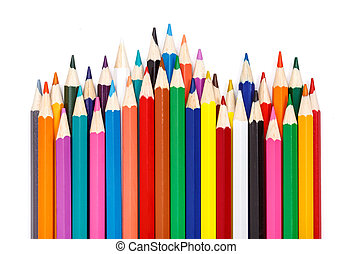 Sharpened colorful pencils arranged in rows