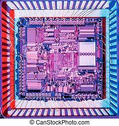 Silicon microchip - Top view of a microprocessor; silicon...
