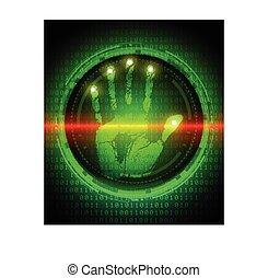 handprint and data protection on di - Security concept:...