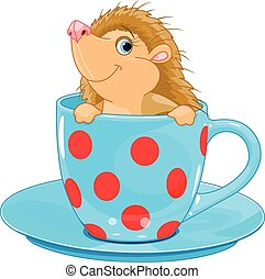 Hedgehog in the tea cup - Cute little Hedgehog sits in the...