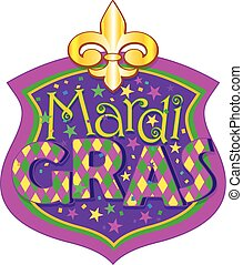 Mardi Gras blazon - Illustration of Mardi Gras blazon