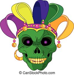 Mardi Gras skull - Illustration of Mardi Gras skull mask