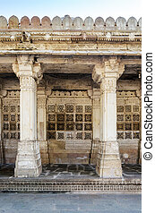 Carved stone grilles on the walls at Sarkhej Roza in...