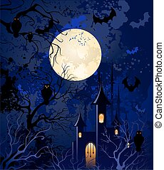 moonlit night on halloween - grunge blue background on...