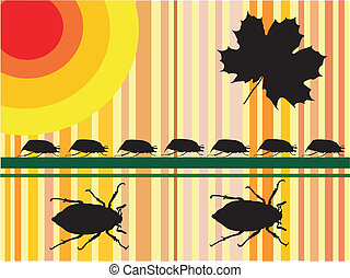may beetles - vector - may beetles-vector silhouette with...