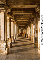 Colonnaded cloister of historic Tomb at Sarkhej Roza mosque...