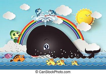 Ilustración, de, lindo, caricatura, whale.,