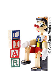 Pinocchio - Wooden pinocchio and word liar