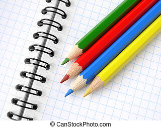 pencils and notepad - color pencils set on the spiral...
