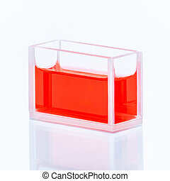 Cuvette with red liquid