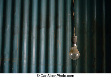 Old light bulb burned inside,no idea concept