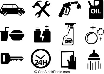 Icons for Services at Petrol Station - Black and white...