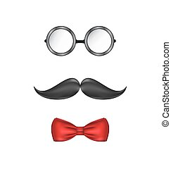 Hipster symbolic of a man face, glasses, mustache and bow-tie, isolated on white background