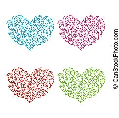 Set ornamental hearts in floral hand drawn style for...