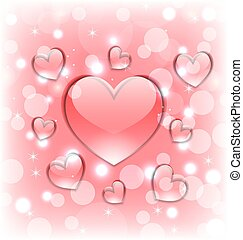 Shimmering background with glassy hearts for Valentine Day