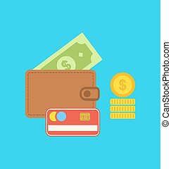 Flat colorful icons of wallet, credit card, dollar, coin