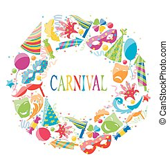 Festive round frame with carnival colorful icons -...