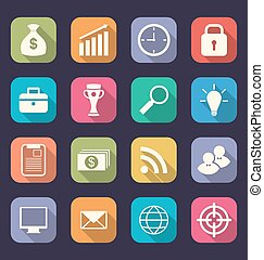Set flat icons of business, office and marketing items, style with long shadows