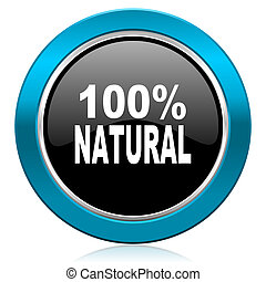 natural glossy icon 100 percent natural sign