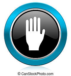 stop glossy icon hand sign