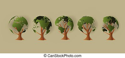 Environmental concept. Tree forming the world paper cut...
