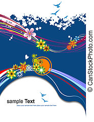 Floral summer blue background. Vector illustration.