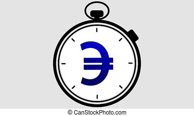 Stopwatch Euro Symbol Rotating - Stopwatch with a European...